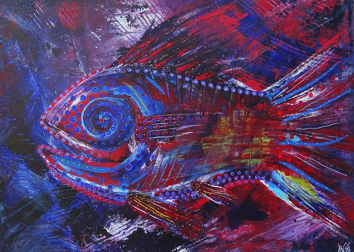 Art Greeting Card featuring the painting Redribfish by Jeremy Smith