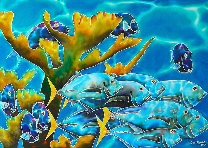 Blue Tang Print Greeting Card featuring the painting Reef Fish by Daniel Jean-Baptiste