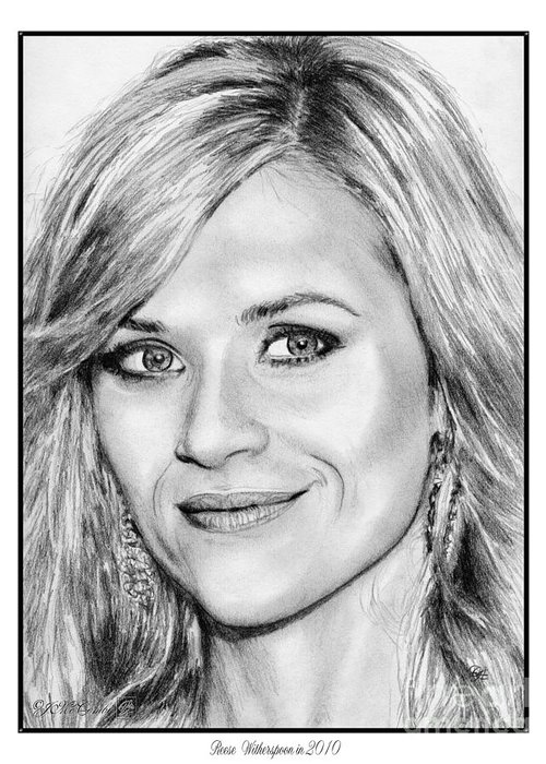Reese Witherspoon Greeting Card featuring the drawing Reese Witherspoon In 2010 by J McCombie