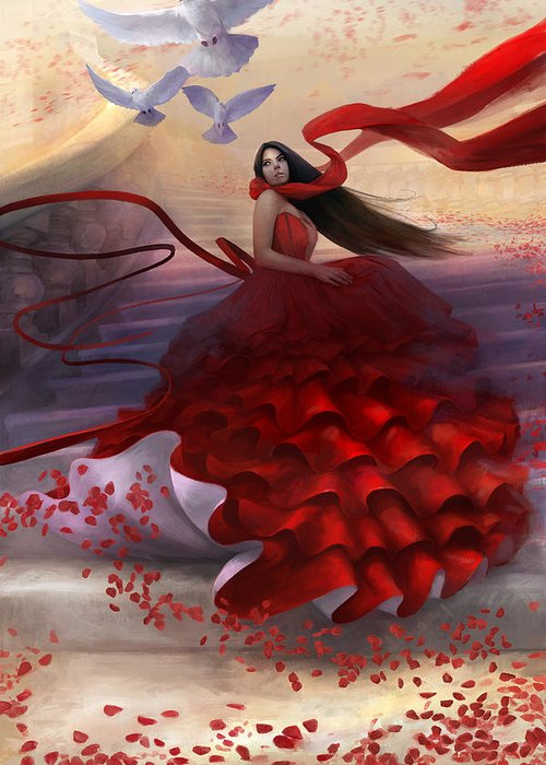 Red Dress Greeting Card featuring the digital art Reflecting Back by Steve Goad