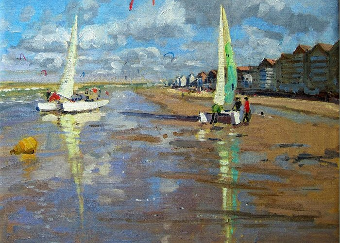 Seaside Greeting Card featuring the painting Reflection by Andrew Macara
