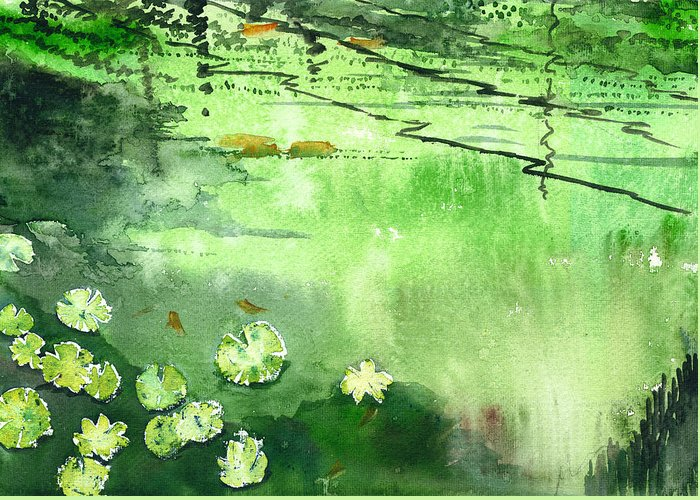 House Greeting Card featuring the painting Reflections 1 by Anil Nene