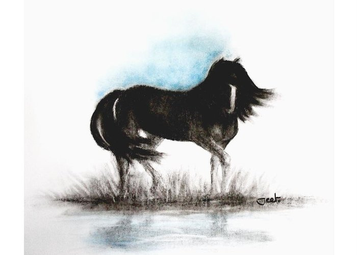 Horse Greeting Card featuring the painting Reflections by Arijeet Chanda