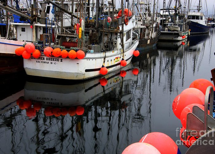 Fishing Boats Greeting Card featuring the photograph Reflections At French Creek by Bob Christopher