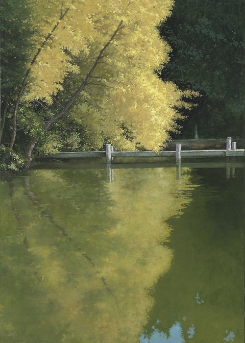 Landscape Greeting Card featuring the painting Reflections by Duane Wolford