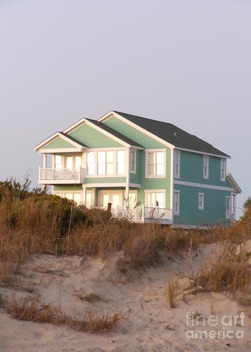 Taffy Colored Greeting Card featuring the photograph Reflections from a Beach House by Beebe Barksdale-Bruner