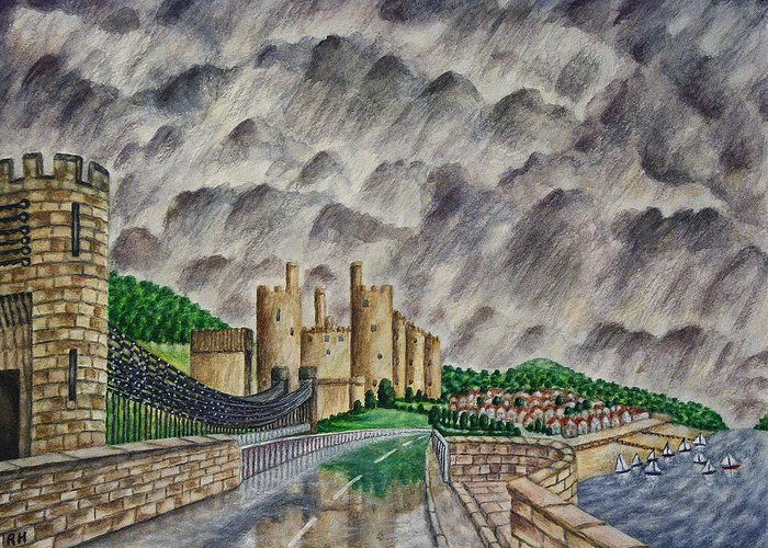 Conway Castle Greeting Card featuring the painting Reflections Of Conway by Ronald Haber