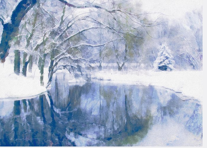 Snow-covered Landscape Mixed Media Greeting Cards