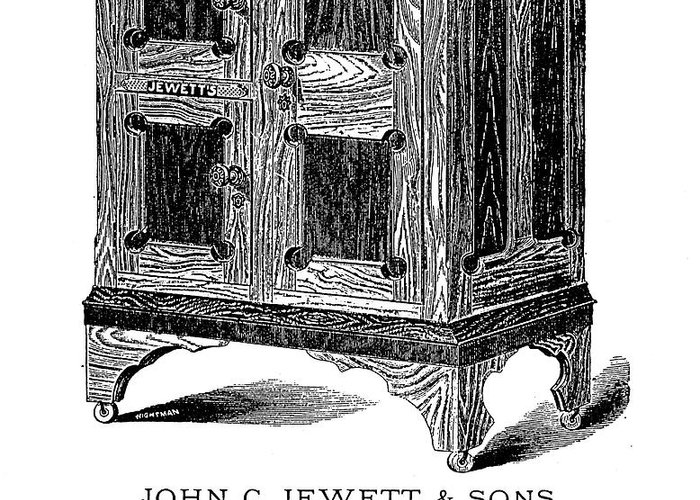 1876 Greeting Card featuring the photograph Refrigerator, 1876 by Granger