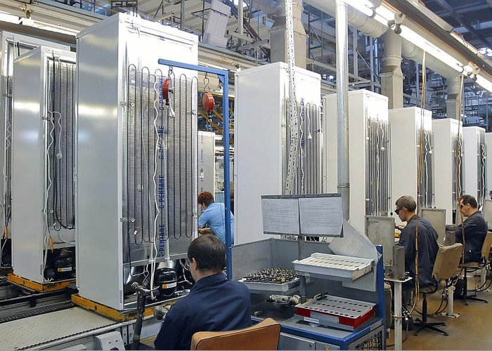 Machine Greeting Card featuring the photograph Refrigerator Factory by Ria Novosti