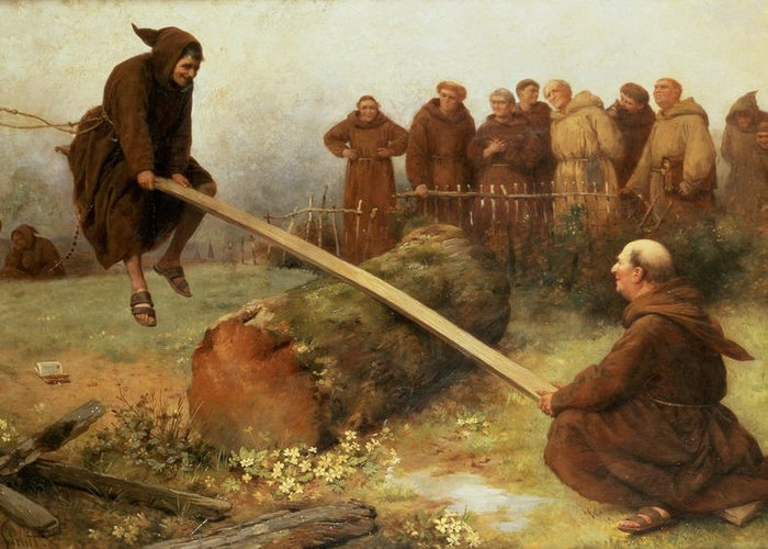 See-saw; Monk; Habit; Monks; Playing; Games; Game; Laughing; Laughter; Fun; Happy; Childlike Greeting Card featuring the painting Religion Was Never Designed To Make Our Pleasure Less by William Strutt