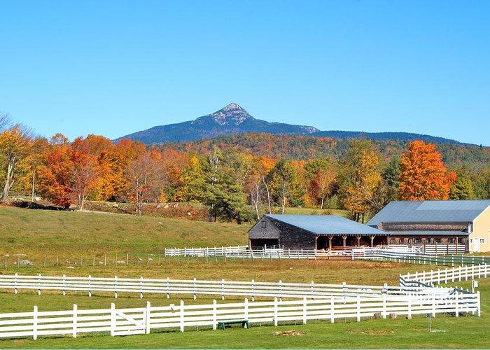 Mt. Chocorua Greeting Card featuring the photograph Remick Farm Autumn by Larry Landolfi