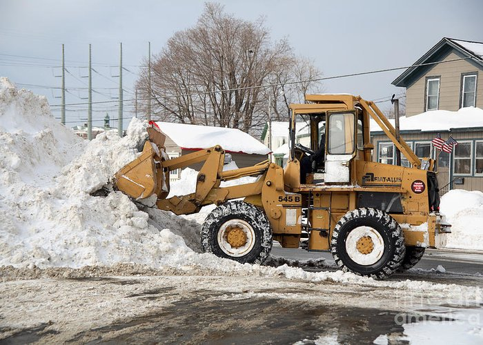Snowstorm Greeting Card featuring the photograph Removing Snow by Ted Kinsman