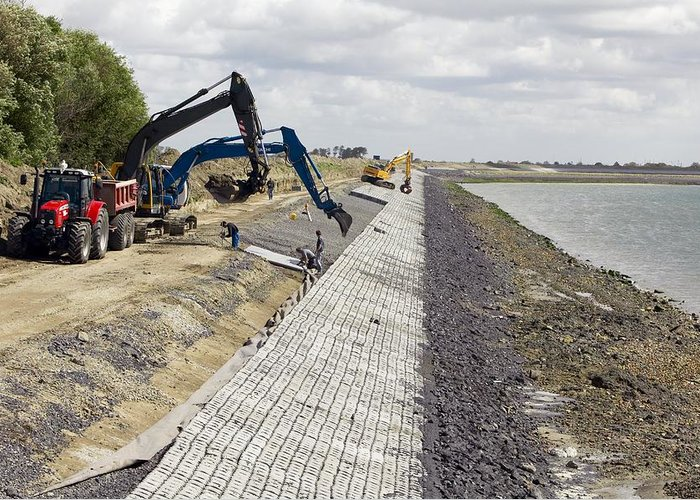Equipment Greeting Card featuring the photograph Renewing Shore Defences, Netherlands by Colin Cuthbert