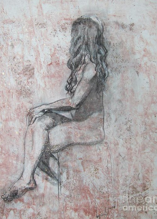 Model Greeting Card featuring the drawing Repose by Julianna Ziegler