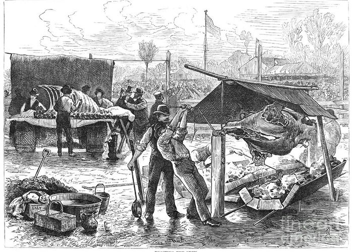1876 Greeting Card featuring the photograph Republican Barbecue, 1876 by Granger