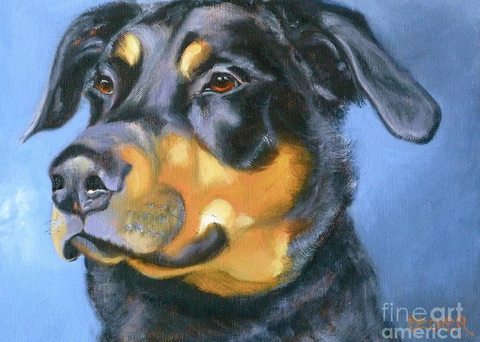 Dog Greeting Card featuring the painting Rescue In Blue by Susan A Becker
