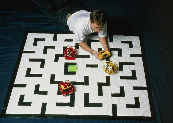 3-d Pacman Greeting Card featuring the photograph Researcher Testing Lego Robots Playing Pacman by Volker Steger