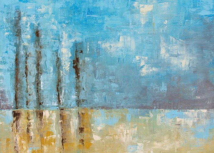 Blue Greeting Card featuring the painting Reside by Ellen Lewis