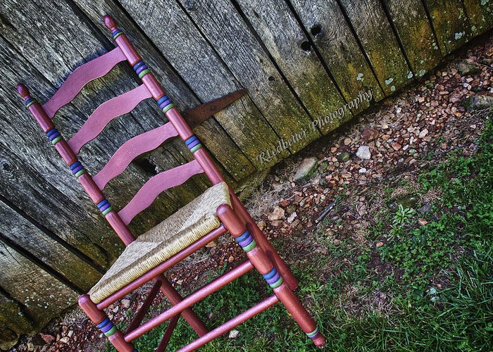 Red Greeting Card featuring the photograph Resting Chair by Renee Ledbetter