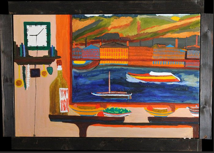 Landscape Greeting Card featuring the painting Resturant View by Randel Erlandson