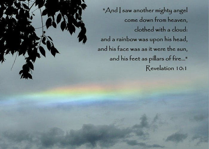 Scripture Greeting Card featuring the photograph Revelation 10 Rainbow by Cindy Wright
