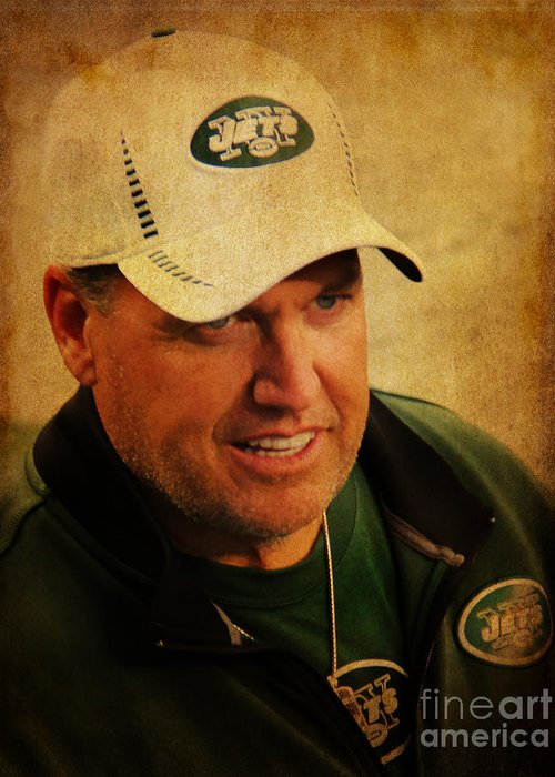 Lee Dos Santos Greeting Card featuring the photograph Rex Ryan - New York Jets by Lee Dos Santos