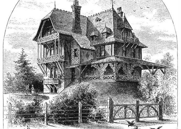 1876 Greeting Card featuring the photograph Rhode Island: Villa, 1876 by Granger