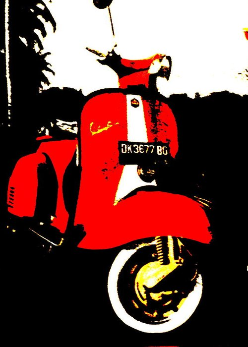 Bali Greeting Card featuring the photograph Rice Field Scooter In Ubud by Funkpix Photo Hunter