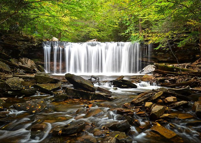 Ricketts Greeting Card featuring the photograph Ricketts Glen Waterfall Oneida by Frozen in Time Fine Art Photography