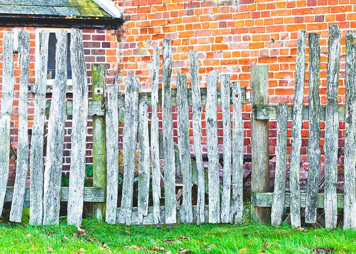 Border Greeting Card featuring the photograph Rickety Fence by Tom Gowanlock