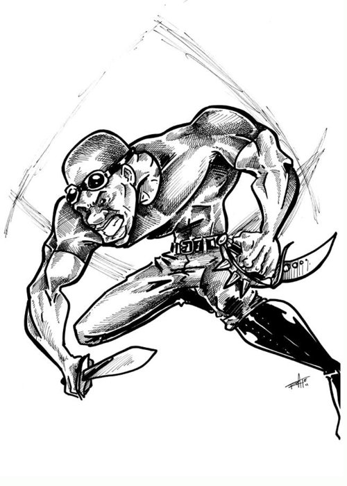 Riddick Greeting Card featuring the drawing Riddick by Big Mike Roate