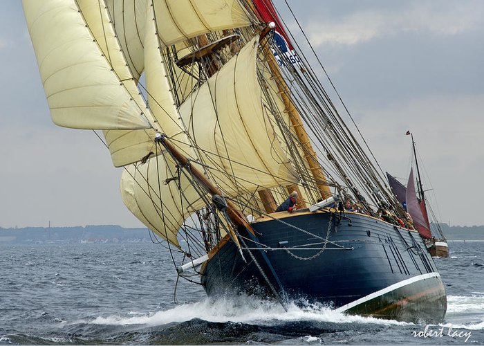 Sailing Ship Greeting Card featuring the photograph Riding The Wind by Robert Lacy
