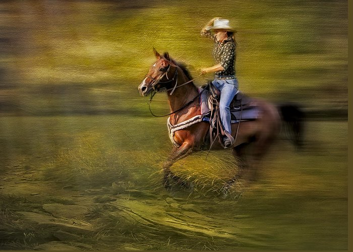 Horse Greeting Card featuring the photograph Riding Thru The Meadow by Susan Candelario