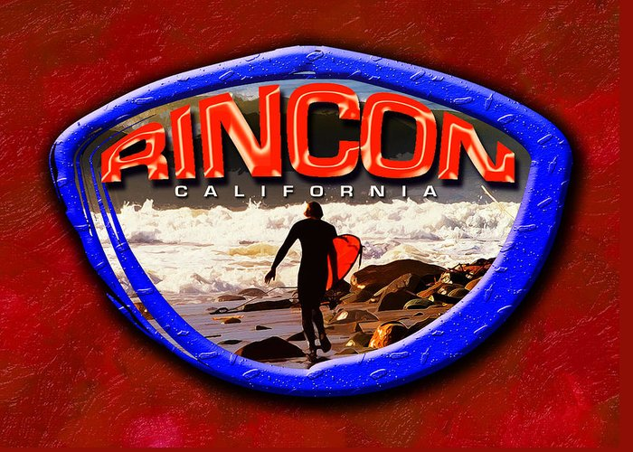 Rincon Greeting Card featuring the digital art Rincon Logo by Ron Regalado
