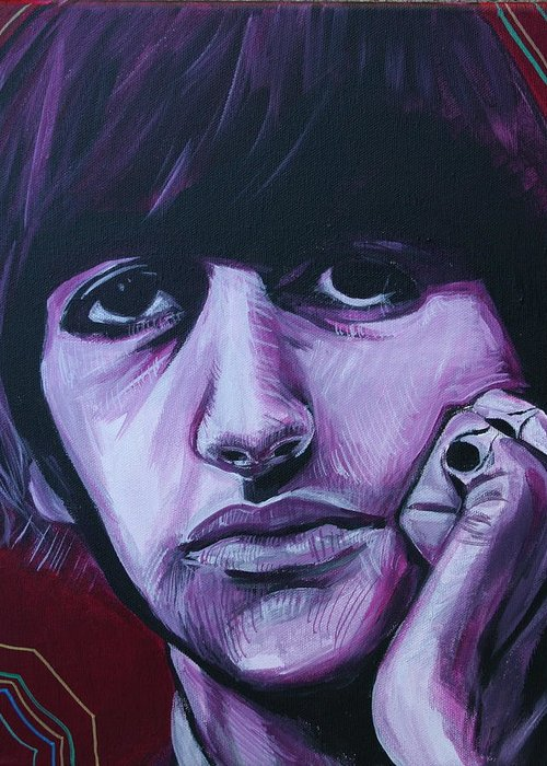 Beatles Greeting Card featuring the painting Ringo Star by Kate Fortin