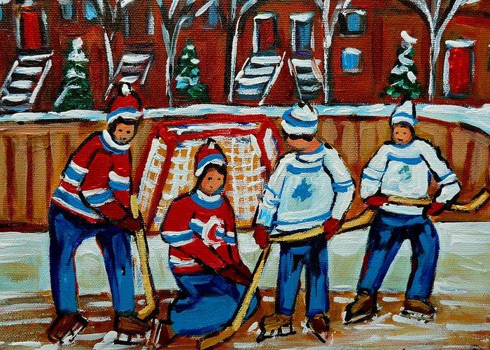 Hockey Art Greeting Card featuring the painting Rink Hockey Montreal Street Scenes by Carole Spandau