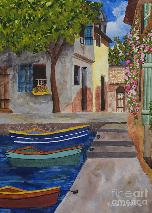 Harbour Greeting Card featuring the painting Rio De Lucia by Kimberlee Weisker