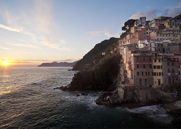 Riomaggio Greeting Card featuring the photograph Riomaggio Sunset by Mike Reid