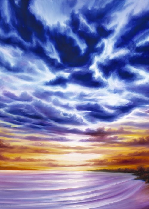 Sunrise; Sunset; Power; Glory; Cloudscape; Skyscape; Purple; Red; Blue; Stunning; Landscape; James C. Hill; James Christopher Hill; Jameshillgallery.com; Ocean; Lakes; Sky; Contemporary; Yellow; Ocean; River; Water Greeting Card featuring the painting Rise by James Christopher Hill