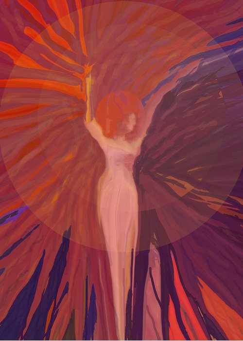 Abstract Greeting Card featuring the digital art Rising From The Ashes by Ian MacDonald
