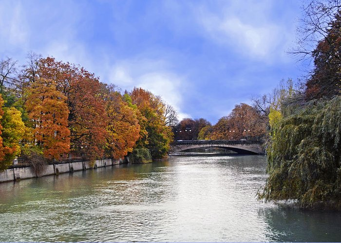 Munich River Stone Bridge Greeting Card featuring the photograph River Colors by Anthony Citro