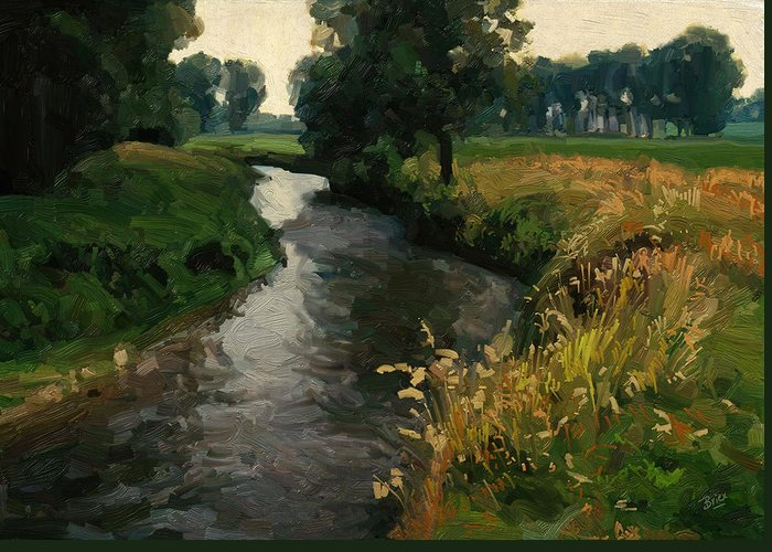 River Geul Greeting Card featuring the painting River Geul by Nop Briex