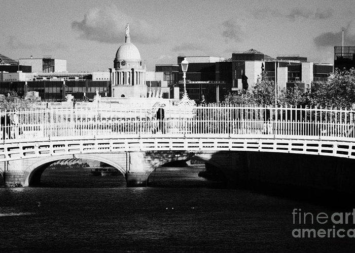 Dublin Greeting Card featuring the photograph River Liffey Dublin City Center by Joe Fox
