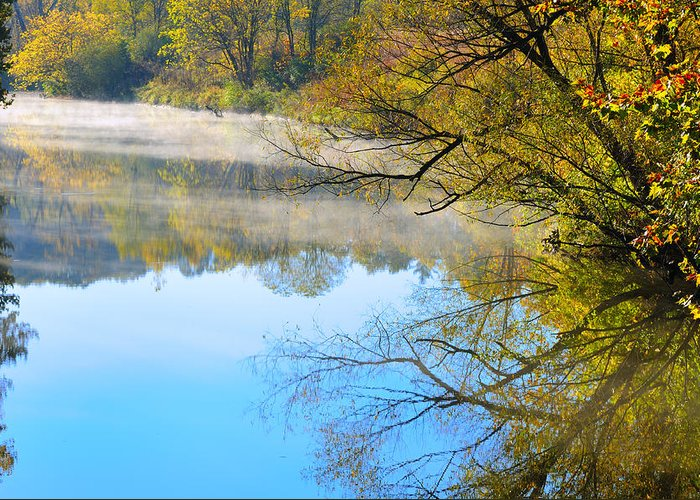 River Greeting Card featuring the photograph River Mist by Kenneth Sponsler