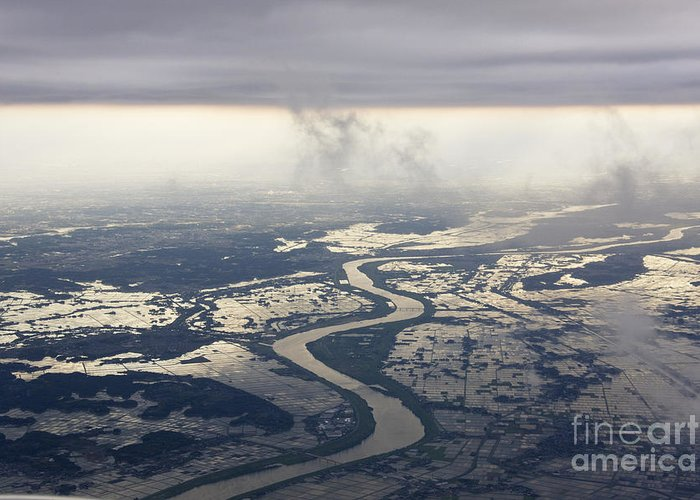 Aerial Greeting Card featuring the photograph River Running Through A Flooded Countryside by Jeremy Woodhouse