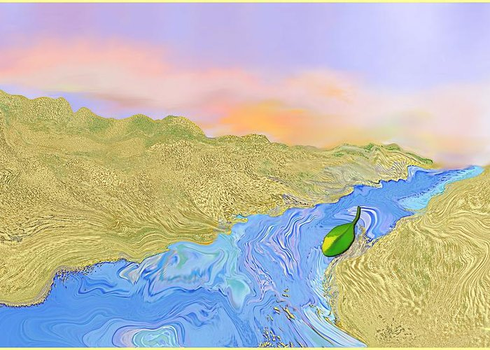 River Greeting Card featuring the digital art River To The Sea by Mathilde Vhargon