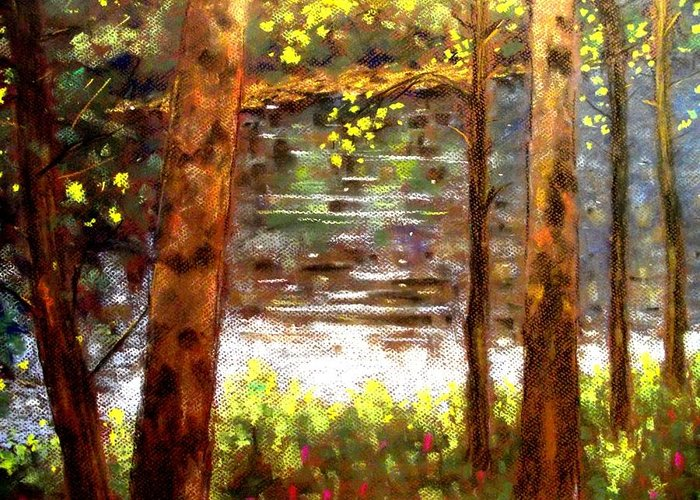 Landscape Greeting Card featuring the pastel River Trees by John Nolan