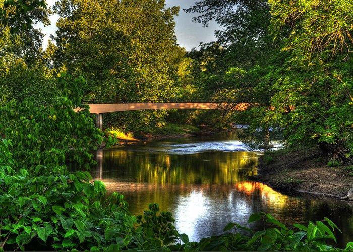 Murphy River Walk Bridge Greeting Card featuring the photograph River Walk Bridge by Greg and Chrystal Mimbs
