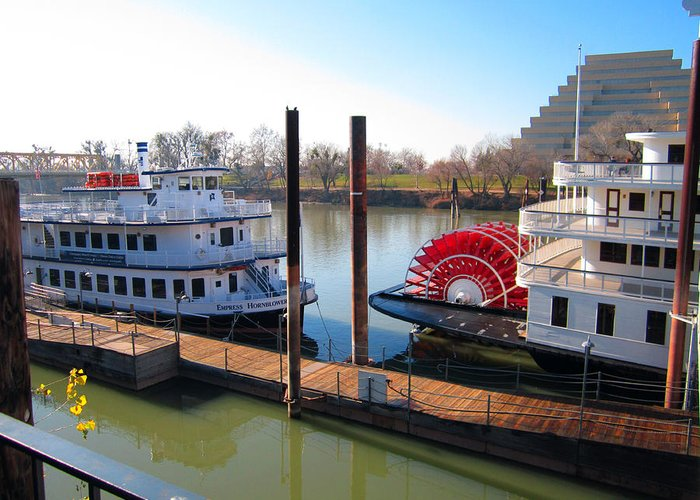 Old Town Sacramento Greeting Card featuring the photograph Riverboats by Barry Jones